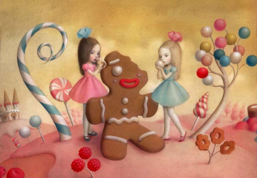 Twee meisjes eten van een speculaaspop in het thema van emotie-eten.