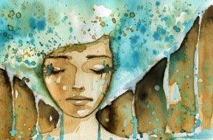 Waterverfschilderij van een vrouw met blauw haar die verdrietig is