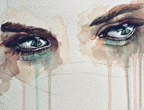 Tranende ogen van iemand die haar gevoelens niet kan uiten.