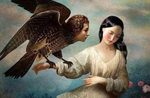 Vrouw houdt adelaar vast, de vogel heeft het hoofd van een mens als symbool voor passief-agressief gedrag.