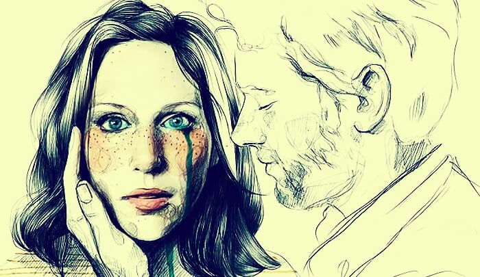 Vrouw die huilt en een man die haar zogenaamd probeert te troosten ook al is hij de bron van het relatiegeweld dat zij ondergaat