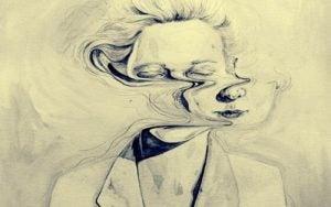Het gezicht van een vrouw dat troebel wordt gemaakt omdat ze keer op keer een leugen vertelt