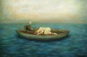 Vrouw die in haar eentje in een bootje liggen want jezelf nodig hebben is niet iets wat altijd geaccepteerd wordt