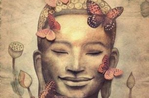 Boeddha met vlinders om zich heen die geniet van mindfulness in het dagelijks leven