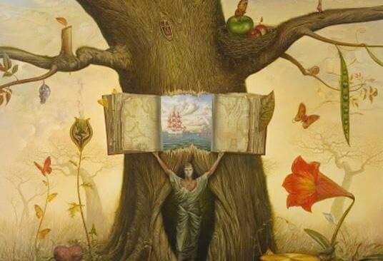 Man die uit een boom komt met een boek in zijn handen, want hij wil diep ademhalen en zijn verhaal vertellen, maar zwijgen is soms beter