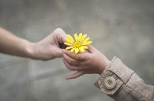 Meisje dat een bloemetje geeft aan iemand anders om zo een goed mens te zijn