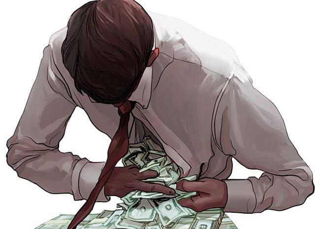 Man die allemaal geld uit zijn blouse haalt om hij een voorbeeld is van emotioneel onvolwassen mensen