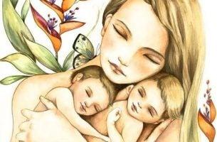 Moeder en kinderen die ooit moeilijke kinderen kunnen worden, maar we moeten lief blijven