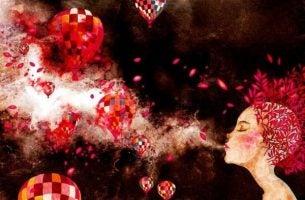 Meisje dat luchtballonnen de lucht in blaast gebaseerd op de theorie van Daniel Goleman over emotionele intelligentie