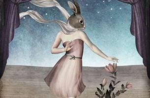 Een vrouw die het hoofd heeft van een konijn als voorbeeld van emotioneel onvolwassen mensen