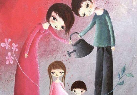 Ouders die hun kinderen goed verzorgen om geen slecht opgevoede kinderen te krijgen
