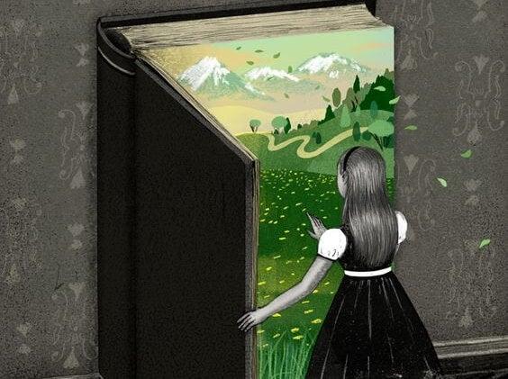 Meisje dat door een boek een nieuwe wereld kan betreden