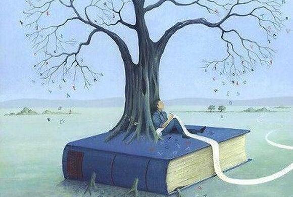 Man die op een zeer groot boek zit waar een boom doorheen groeit