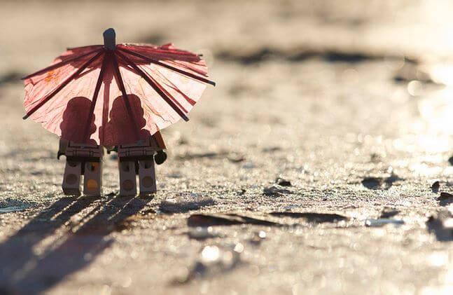 Samen onder de parasol