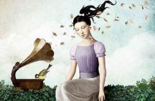Zwijgende vrouw en muziek want zwijgen is soms beter