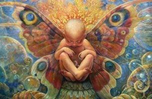 Een pasgeboren baby met vleugels