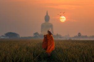 Boeddhistische monnik die weet hoe hij moet leven in het nu