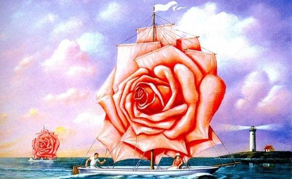 Een roos als zeil op een zeilboot