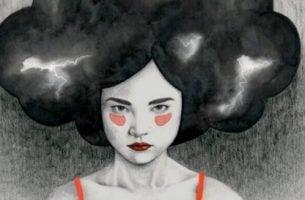 Een giftige persoon met bliksemschichten in haar haar