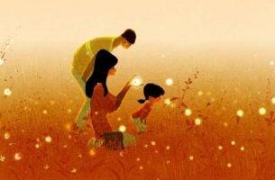 Familie in veld om zo een hechte familieband op te bouwen