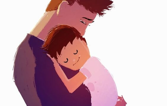 Een vader die zijn zoon knuffelt