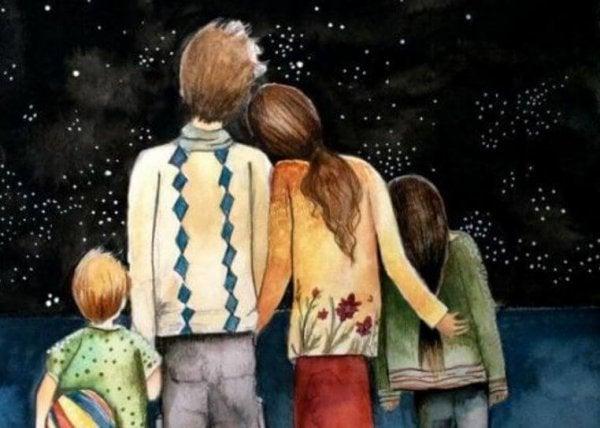 Gezin dat samen naar de sterren kijkt als voorbeeld van een hechte familieband
