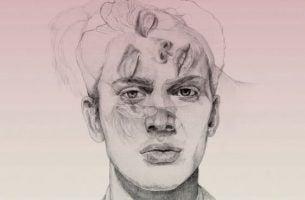 Tekening van het gezicht van een man met het gezicht van een vrouw erdoorheen die allebei andere soorten geesten hebben