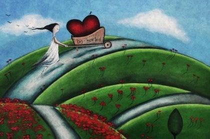 Meisje dat haar grote hart rondrijdt in een kruiwagen vanwege haar emotionele wijsheid