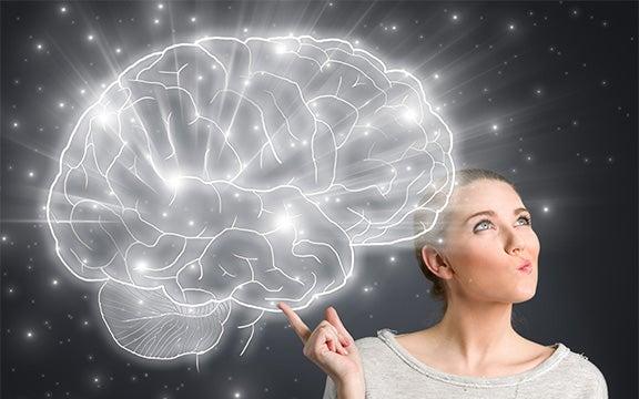 Vrouw uit wiens vinger een stel hersenen komt dat licht geeft