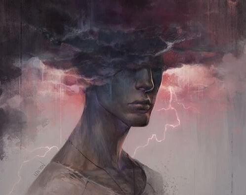 Man wiens hoofd vastzit in een donderwolk
