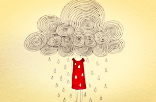 Meisje wiens hoofd verstopt zit in een regenachtige wolk omdat ze een van die moeilijke mensen is die alles zwaarder maken
