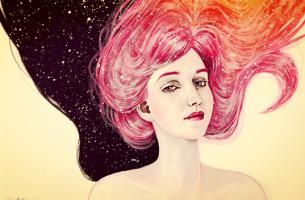 Meisje met roze en oranje haar dat bij zichzelf denkt ik ben de hoofdpersoon in mijn eigen verhaal