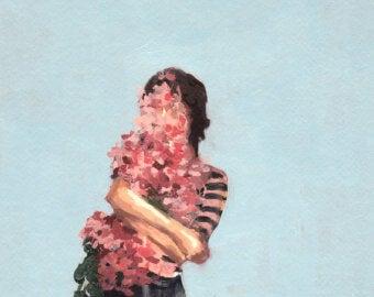 Meisje dat zichzelf knuffelt want ze weet, je moet eerst van jezelf houden voordat je van iemand anders kunt houden