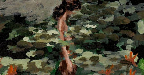 Schilderij van een vrouw met waterlelies om zich heen