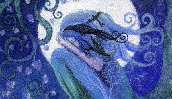 Verdrietig meisje dat zich in het bos verstopt met de vogels omdat zij vergeten is hoe belangrijk het bewaken van haar waardigheid is