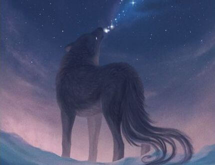 Wolf die naar de maan huilt vanwege alle emotionele vampieren om hem heen