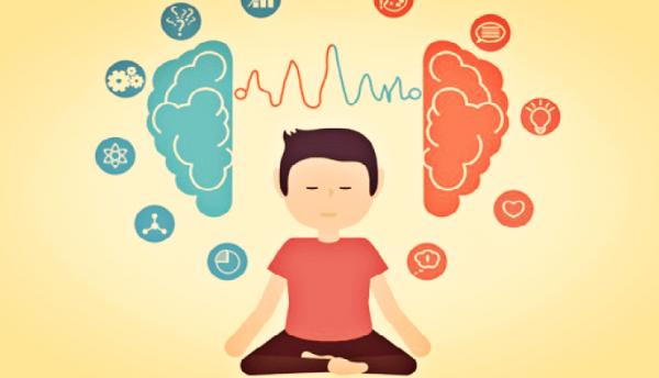Man die mediteert en zijn twee hersenhelften met elkaar verbindt om zo mindfulness in het dagelijks leven toe te passen