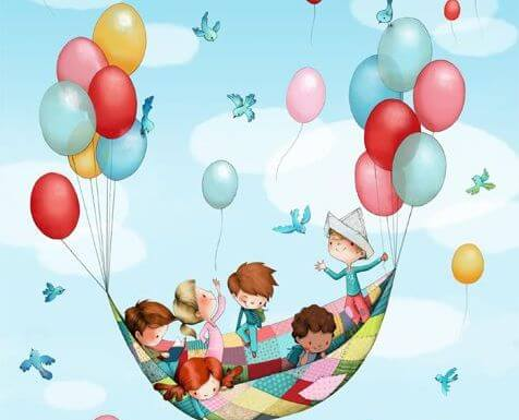 Kinderen die allemaal ballonnen aan een laken hebben vastgeknoopt om door de lucht te zweven