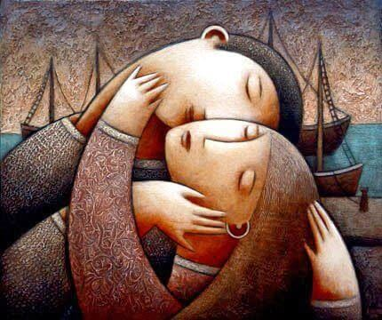Twee mensen die elkaar hartstochtelijk omhelzen en hun ziel delen