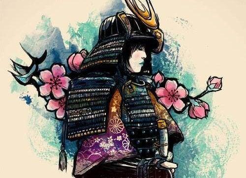 Aziatische vrouw die bedekt is met harnassen en bloemen