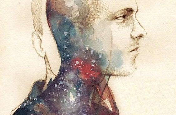 Waterverf tekening van een man die twee gezichten heeft want hij moet zijn zelfvertrouwen vergroten