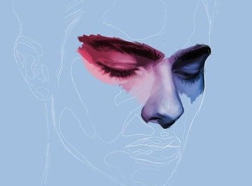 Man met een rood oog en een blauw oog