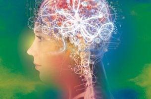 De innerlijke mechanismes van het hoofd van een vrouw, waar boeken over positieve psychologie over gaan