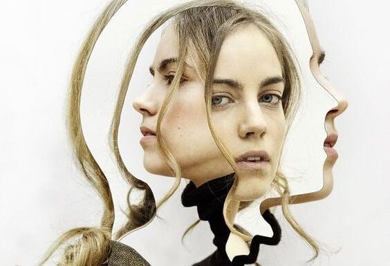Het gezicht van een meisje vanuit meerdere hoeken waardoor ze berekende stilte uitstraalt