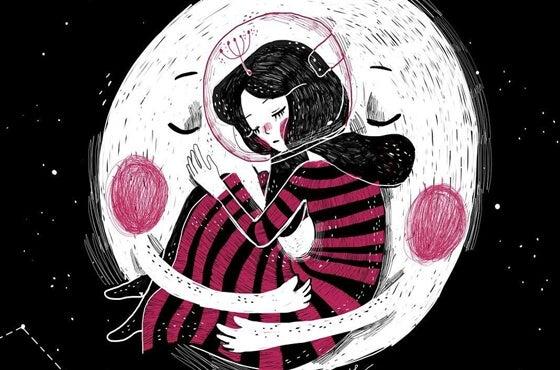 Meisje dat zich laat omarmen door de maan, want ze moet haar zelfvertrouwen vergroten