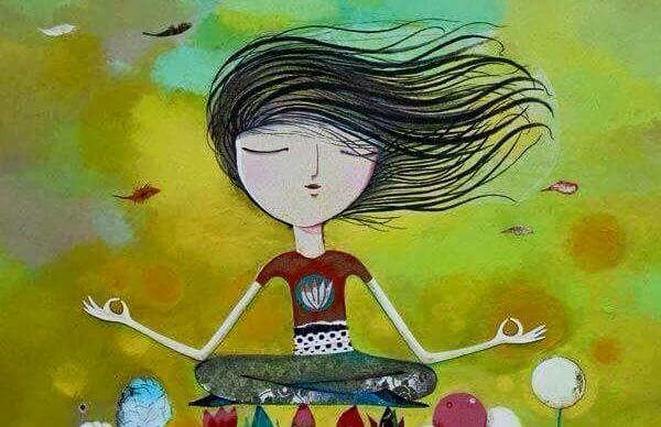 Meisje dat zit te mediteren