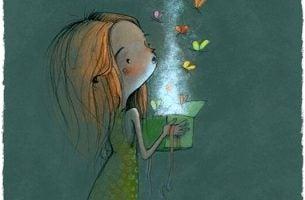 Meisje dat vlinders uit een doosje laat ontsnappen en oog voor detail heeft