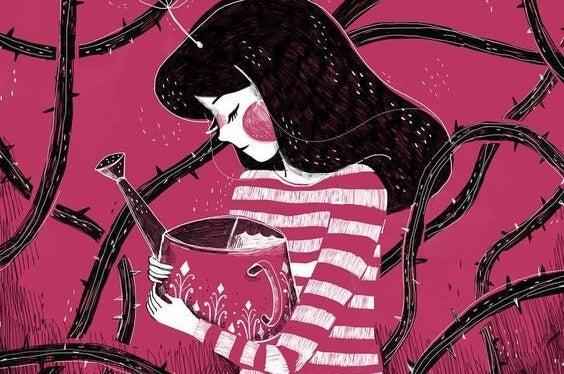 Verdrietig meisje geeft de doornen water, als voorbeeld van vreedzame houdingen