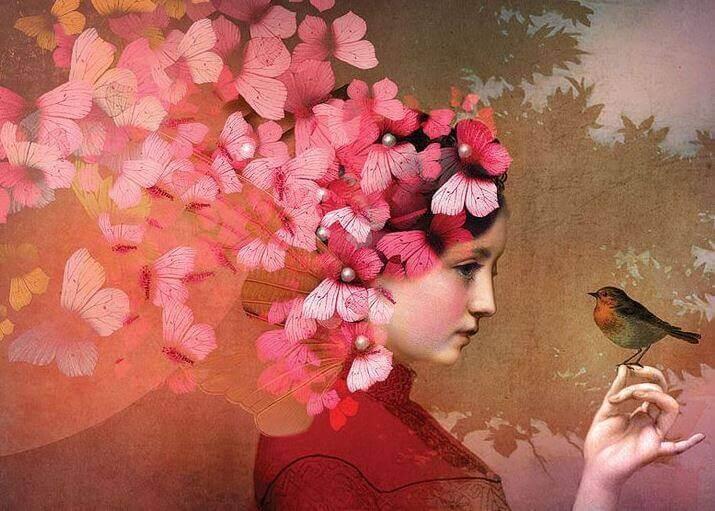 Meisje met allemaal roze bloemen in haar haar en een klein vogeltje op haar vinger