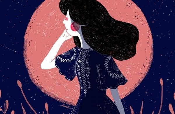 Een meisje in de nacht
